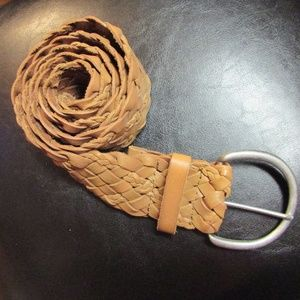 Leather Woven Belt Tan Brushed Nickle Buckle 44""